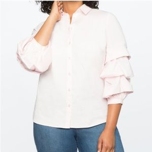 Eloquii pink ruffle sleeve button down blouse